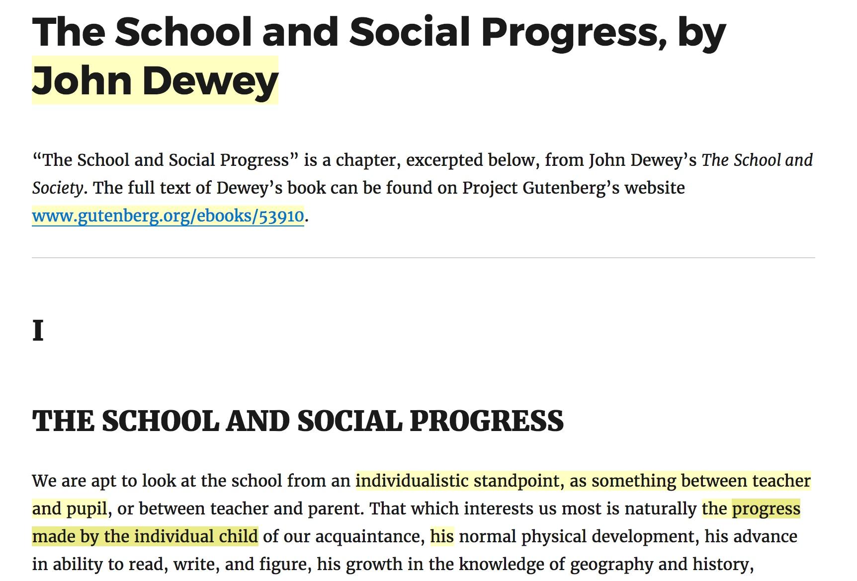 dewey school and society summary